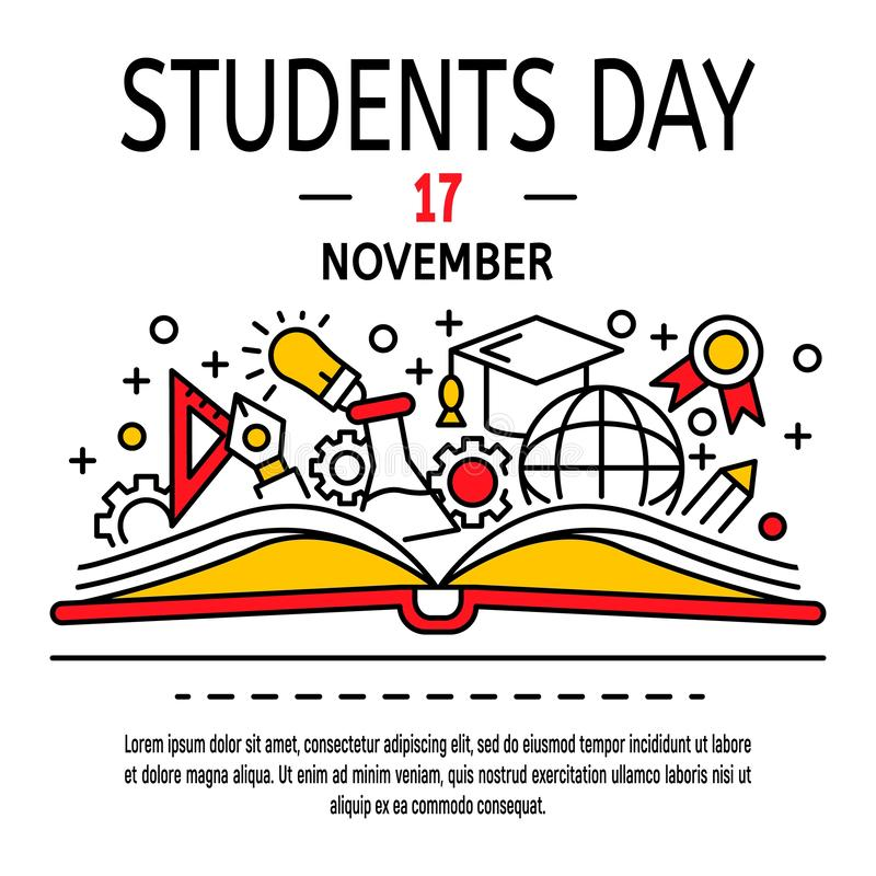 Fond de concept de jour d'étudiants, style d'ensemble illustration stock