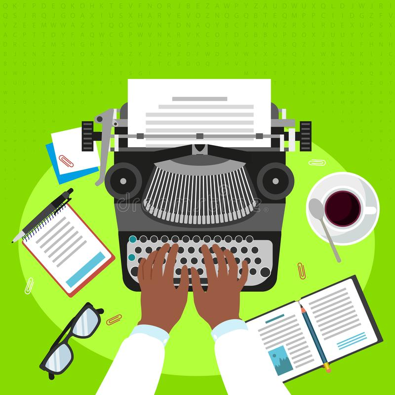 Fond de concept de machine à écrire de travail d'homme, style plat illustration libre de droits