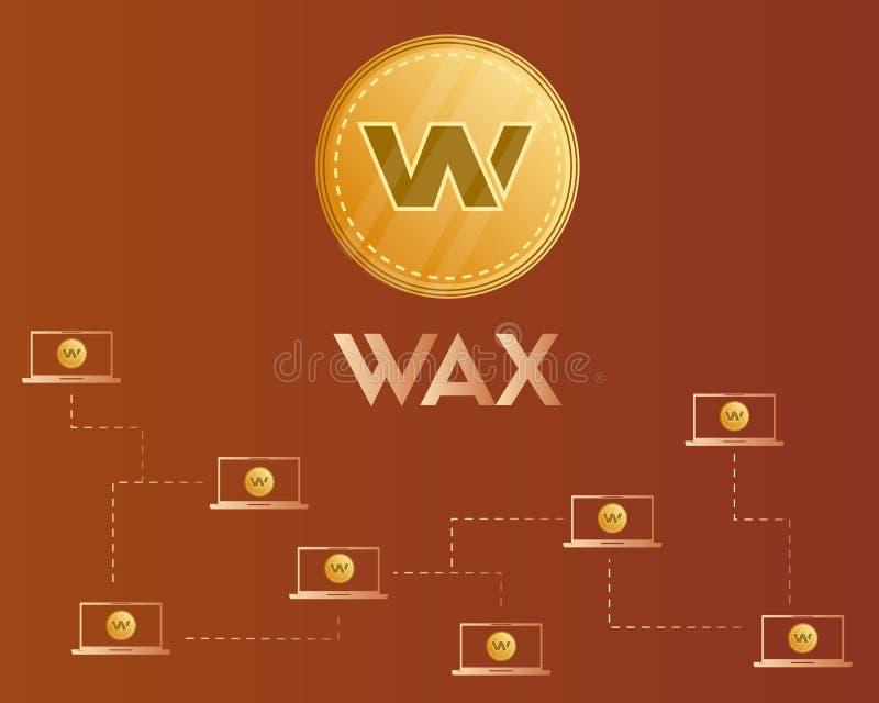Fond de concept de réseau de cryptocurrency de cire de Blockchain illustration stock
