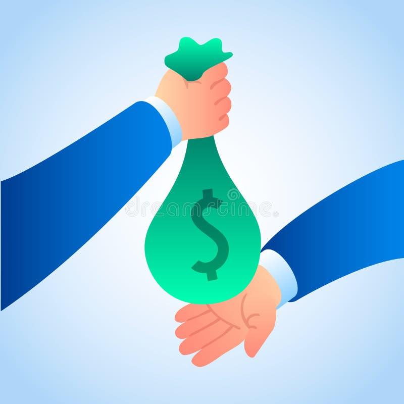 Fond de concept de sac d'argent de corruption, style isométrique illustration de vecteur