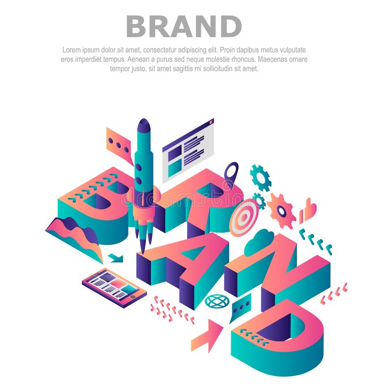 Fond de concept de société de marque, style isométrique illustration stock