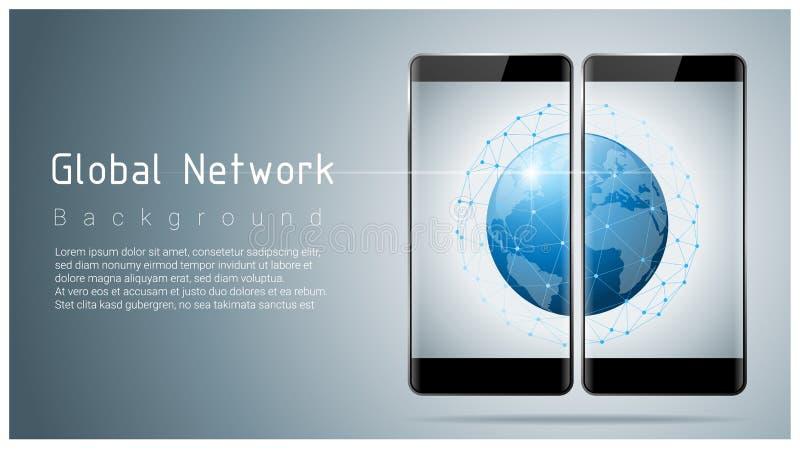 Fond de concept de technologie de réseau global, de communication et de connexion illustration libre de droits