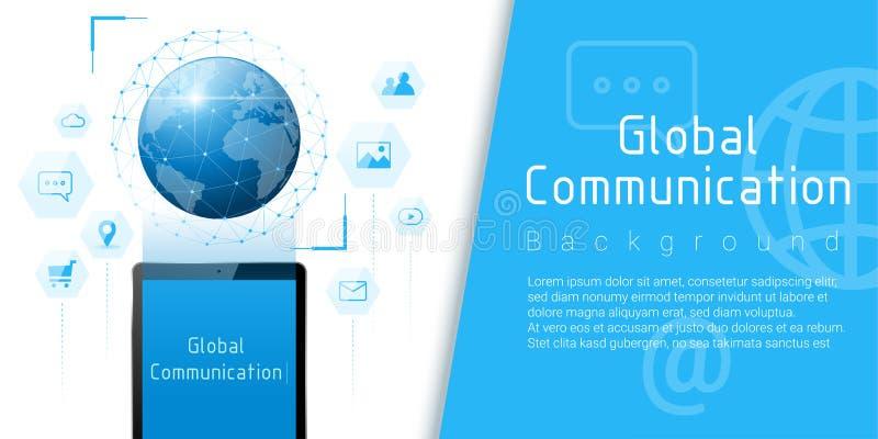 Fond de concept de technologie de télécommunication mondiale et de connexion illustration stock