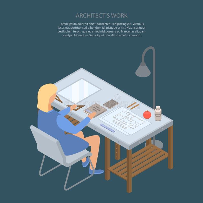 Fond de concept de travail d'architecte, style isométrique illustration libre de droits