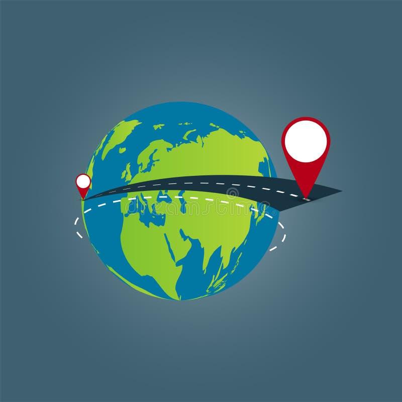 Fond de concept de voyage du monde, voyage par la route autour du monde Illustration de vecteur illustration stock