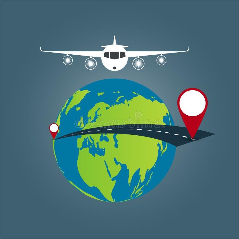 Fond de concept de voyage du monde, voyage par la route autour du monde Illustration de vecteur illustration libre de droits
