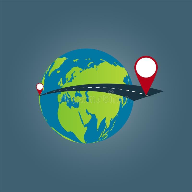 Fond de concept de voyage du monde, voyage par la route autour du monde sur transparent blanc Illustration de vecteur illustration de vecteur