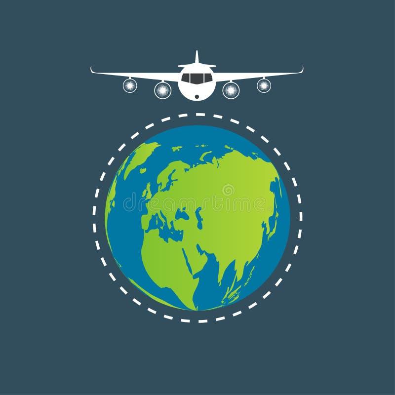 Fond de concept de voyage du monde, voyage par la route autour du monde sur transparent blanc Illustration de vecteur illustration stock
