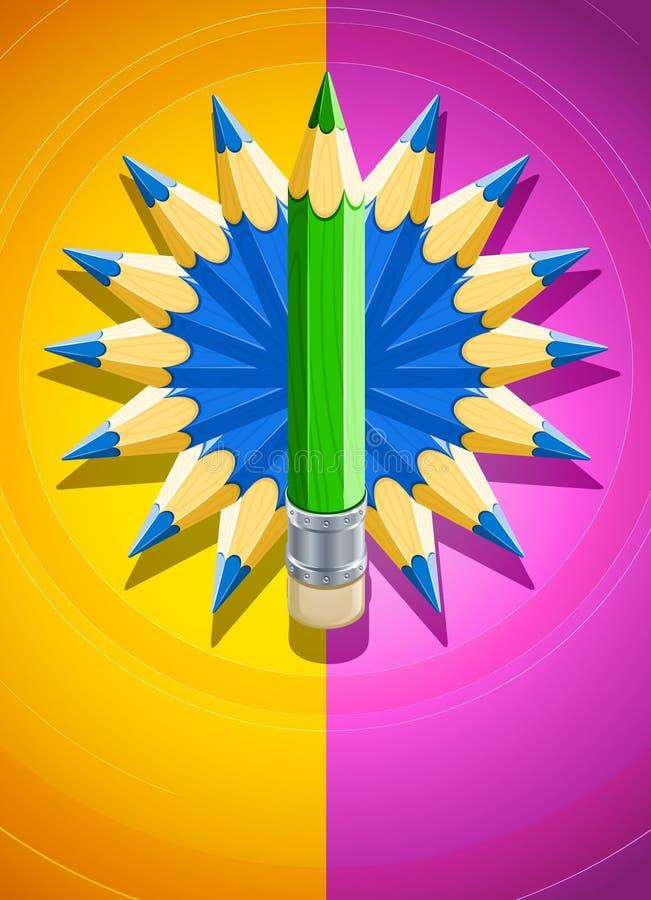 Fond de conception avec le cercle fait de crayons illustration stock