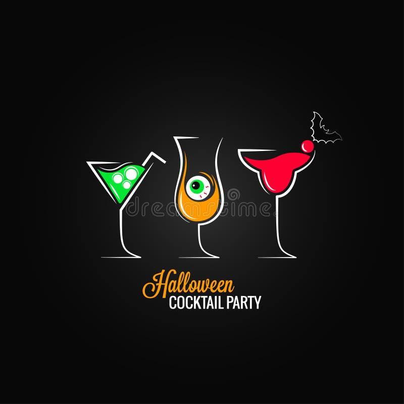 Fond de conception de menu de cocktails de partie de Halloween illustration libre de droits