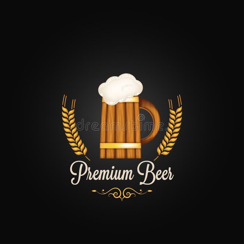 Fond de conception de vintage d'orge de tasse de bière illustration libre de droits