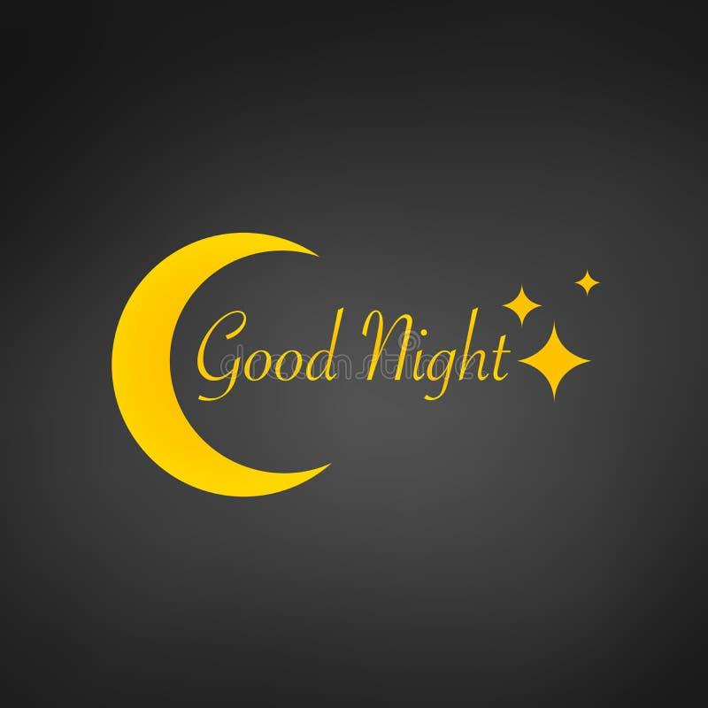 Fond de conception de sommeil, lune de zzz, signe de bonne nuit et étoiles, illustration de vecteur, d'isolement sur le fond noir illustration de vecteur