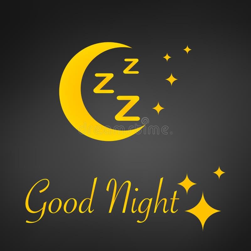 Fond de conception de sommeil, lune de zzz, signe de bonne nuit et étoiles, illustration de vecteur, d'isolement sur le fond noir illustration libre de droits