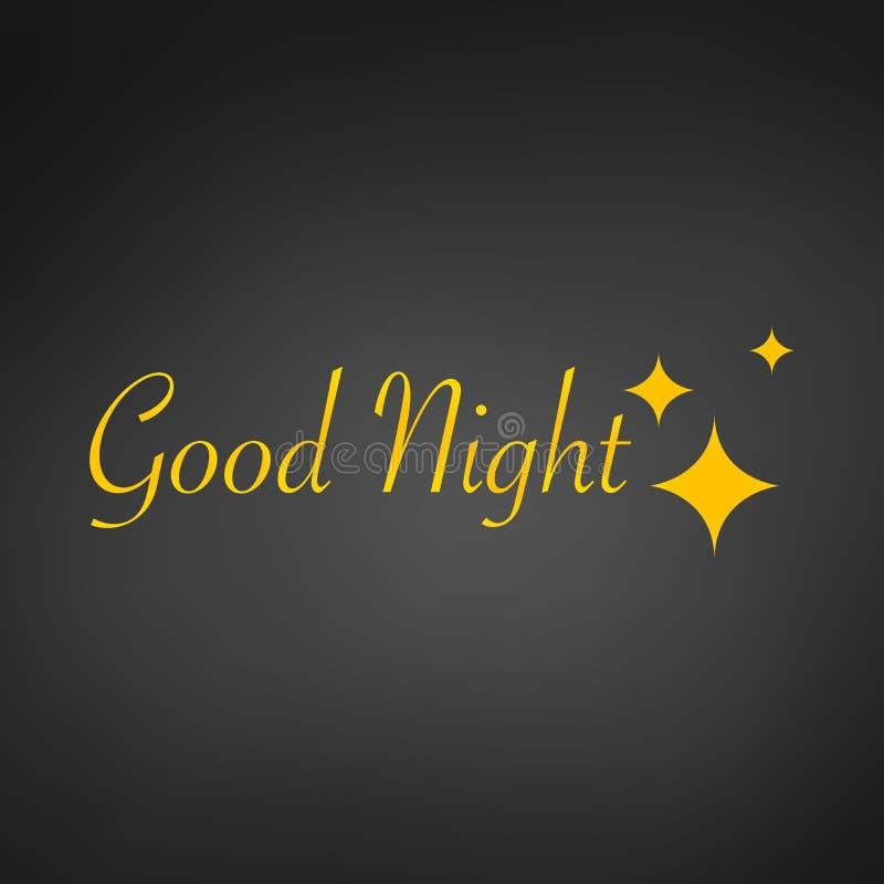 Fond de conception de sommeil, signe de bonne nuit et étoiles, illustration de vecteur, d'isolement sur le fond noir illustration stock