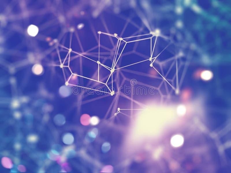fond de connexions réseau 3D avec le foyer peu profond illustration libre de droits
