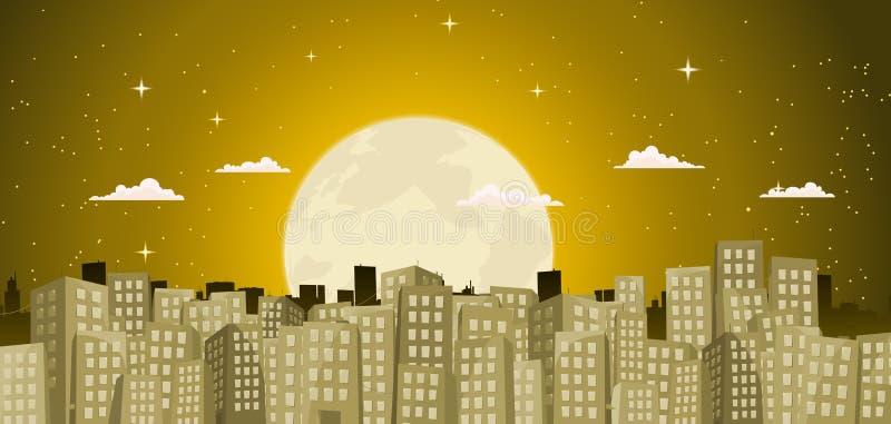 Fond de constructions dans un clair de lune d'or illustration de vecteur