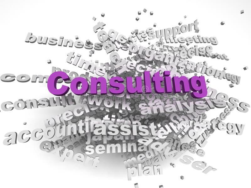 fond de consultation de nuage de mot de concept de questions de l'image 3d illustration stock