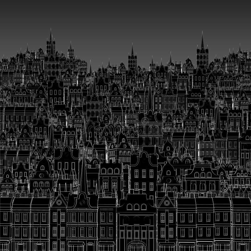 Fond de contour blanc peint des bâtiments de ville illustration de vecteur