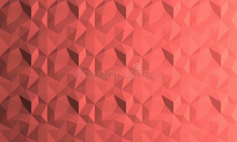 Fond de corail vivant géométrique de résumé Couleur de l'année 2019 Dessin géométrique, calibre pour la disposition, site Web, cr photos libres de droits