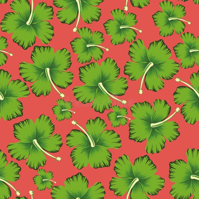 Fond de corail vivant sans couture de ketmie de fleurs de chaux illustration stock