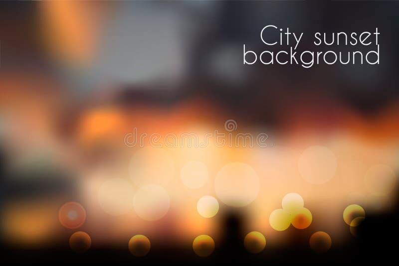 Fond de coucher du soleil brouillé par effet de Bokeh illustration stock