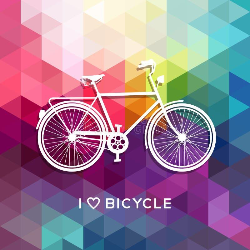 Fond de couleur d'amour de bicyclette d'affiche de concept de vélo illustration stock