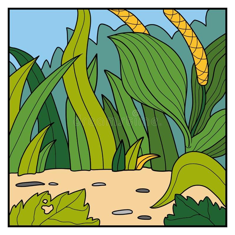 Fond de couleur de vecteur, pré avec le plantain illustration de vecteur