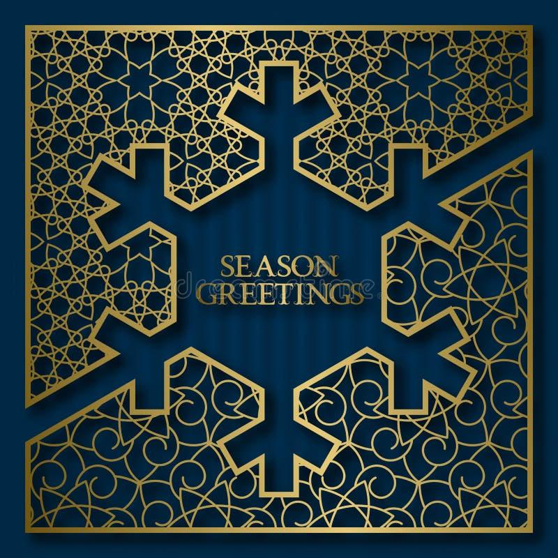 Fond de couverture de carte de voeux de saison avec le cadre ornemental d'or dans la forme de flocon de neige illustration de vecteur