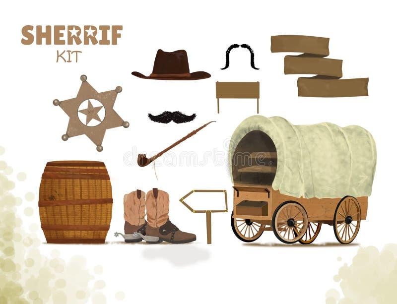 Fond de cowboy avec les bottes occidentales et chapeau de chariot et baril occidentaux, tube de paix, moustache, kit de shérif de illustration de vecteur