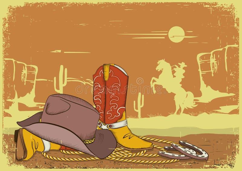 Fond de cowboy avec les vêtements américains. illustration de vecteur