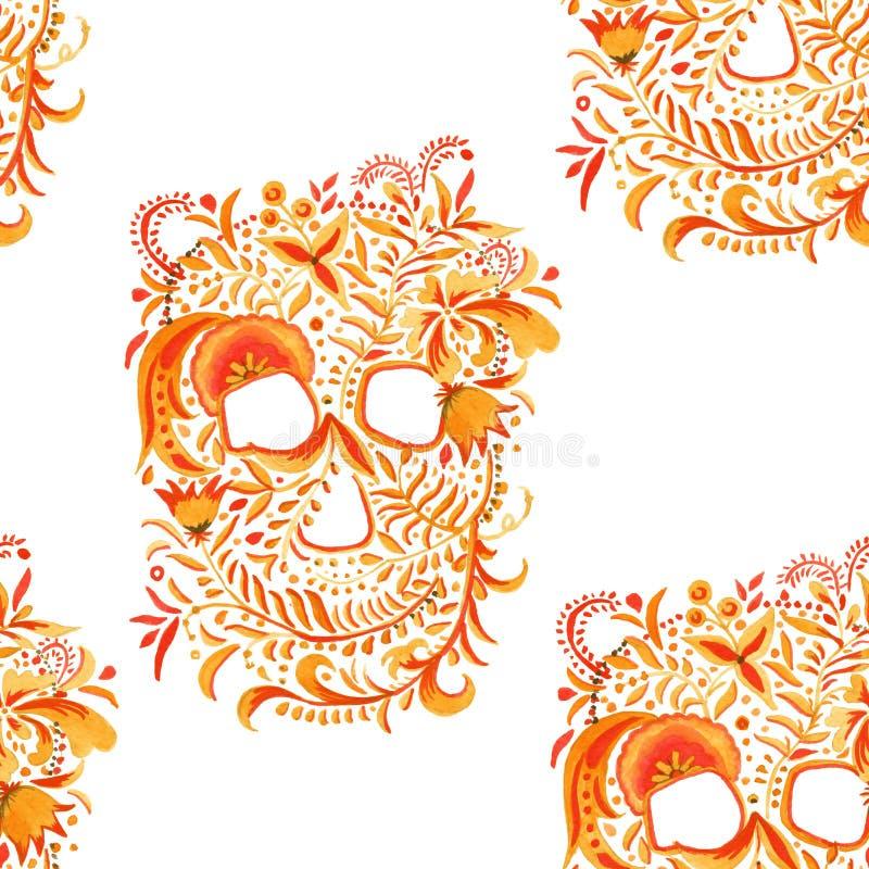 Download Fond De Crâne Avec L'ornement Khokhloma Configuration Sans Joint Illustration D'aquarelle Illustration Stock - Illustration du centrales, random: 77162040