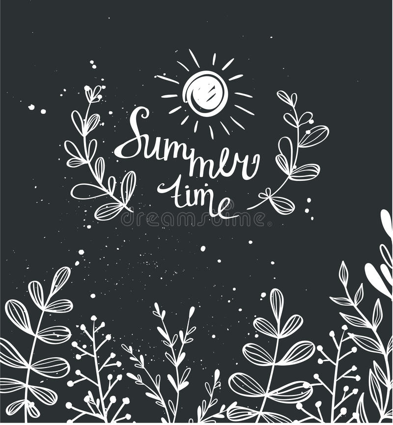 Fond de craie d'été avec les herbes et le soleil illustration libre de droits