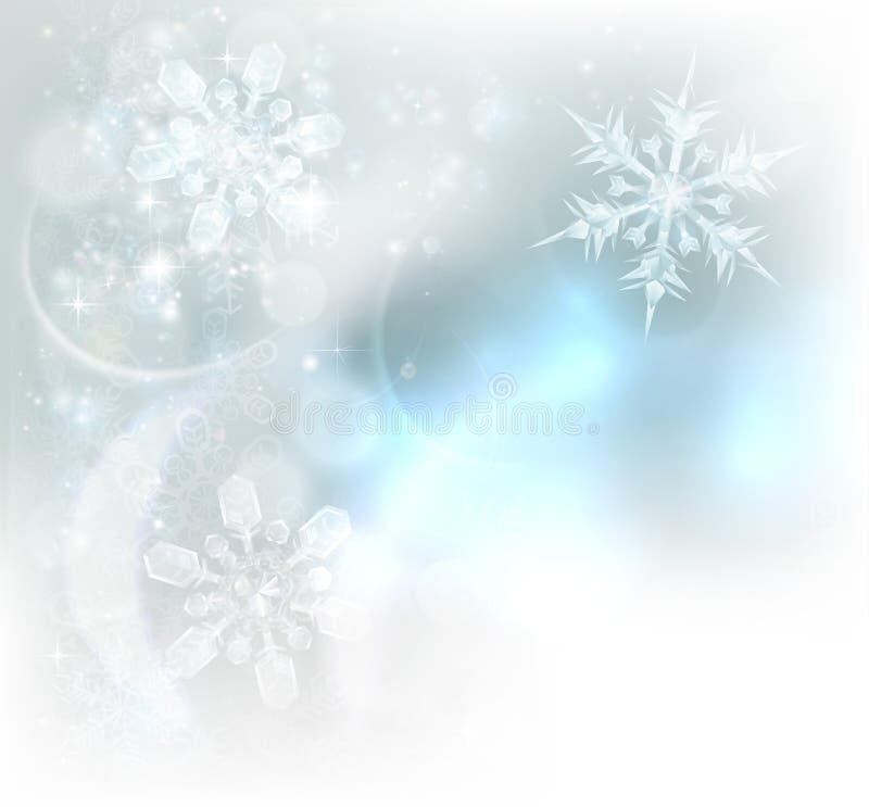 Fond de cristaux de glace de flocons de neige de Noël illustration stock