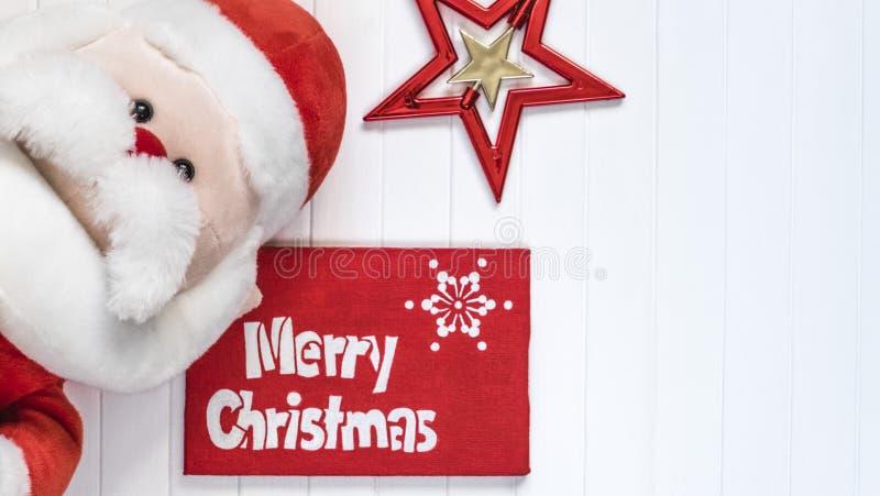Fond de Cristmas Décoration rouge Carte de voeux de Santa Claus Merry Cristmas photographie stock