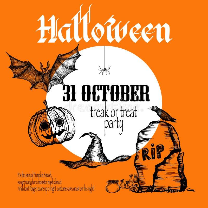 Fond de croquis de Halloween illustration stock