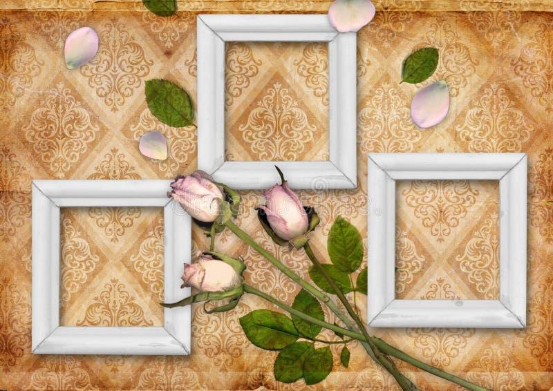 Fond de cru avec l'ornement de fleur illustration stock