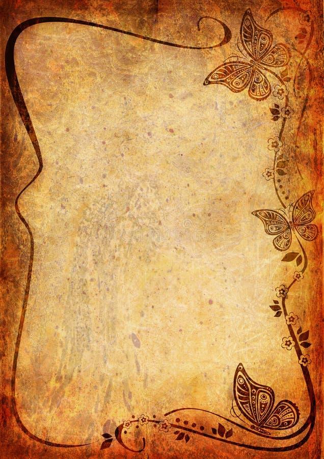 Fond de cru avec la fleur et la lame illustration de vecteur