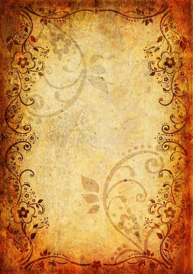 Fond de cru avec la fleur et la lame illustration libre de droits