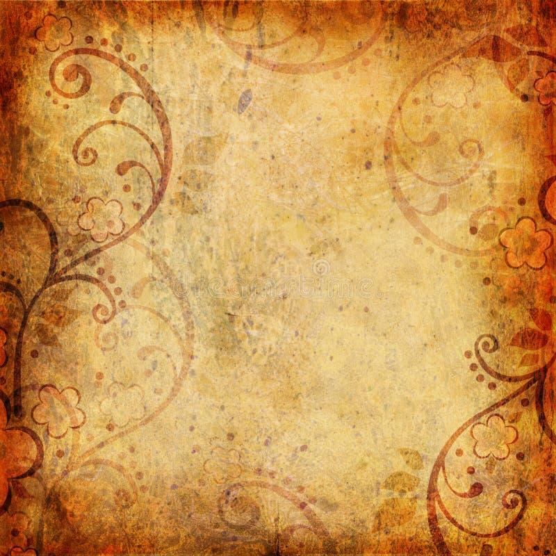 Fond de cru avec la fleur et la lame illustration stock
