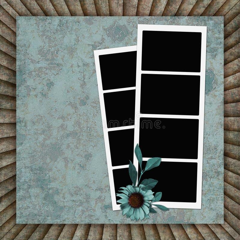Fond de cru avec les trames et la fleur illustration stock