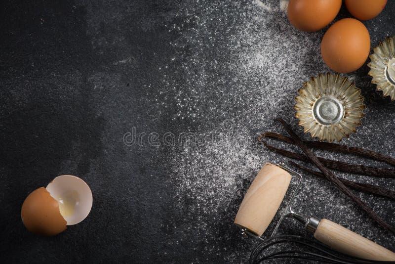 Fond de cuisson avec des ingrédients photo stock