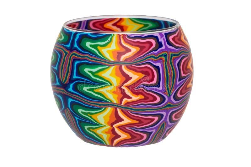 Fond de décorations de vases Plan rapproché d'un vase décoratif vide avec le modèle coloré d'isolement sur un fond blanc Macro photo libre de droits