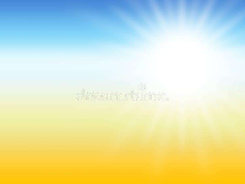 Fond de désert d'été de rayon de Sun illustration de vecteur