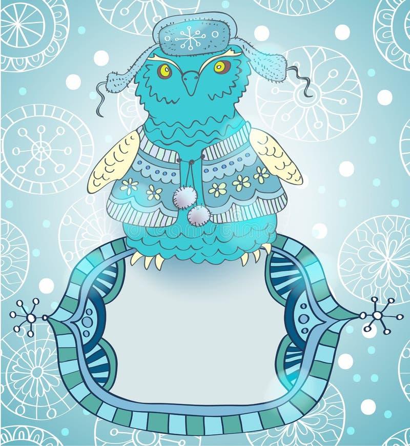 Fond de dessin anim de l 39 hiver avec le hibou mignon illustration stock illustration du trame - Dessin de l hiver ...