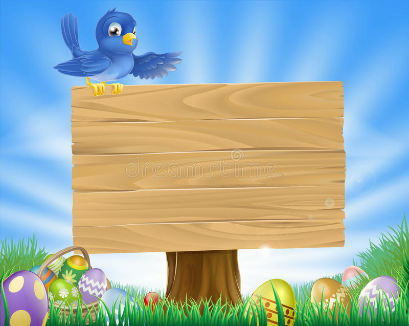 Fond de dessin animé de Pâques d'oiseau bleu illustration libre de droits