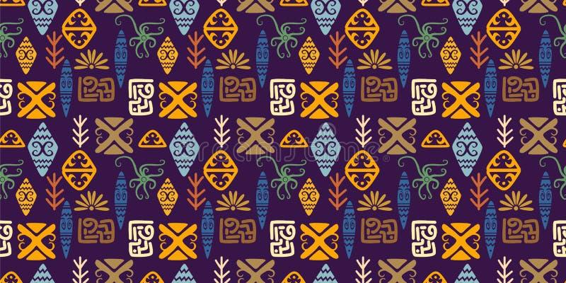 Fond de dessin de mod?le d'Africain ethnique tir? par la main sans couture tribal de motif illustration stock
