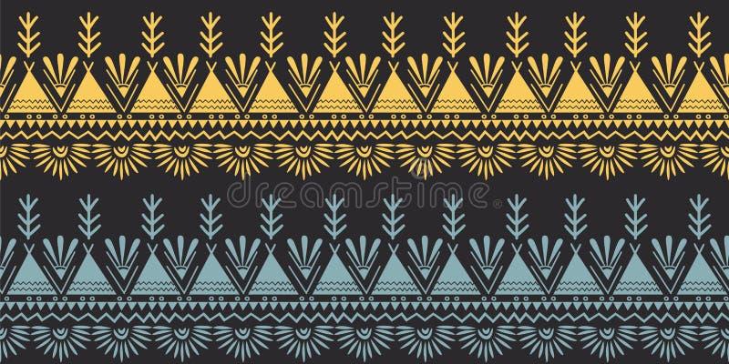 Fond de dessin de mod?le d'Africain ethnique tir? par la main sans couture tribal de motif illustration libre de droits