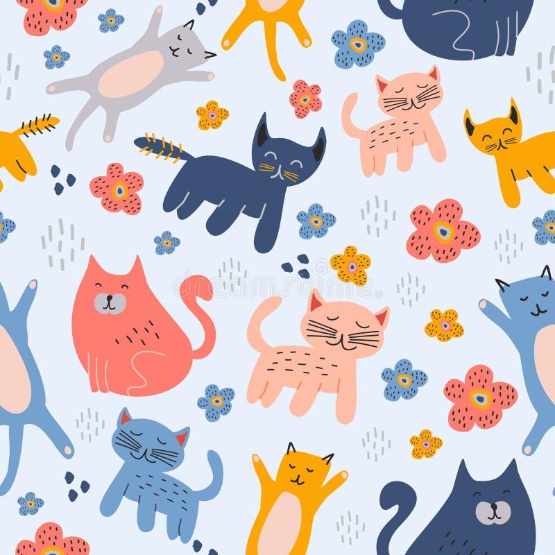 Fond de dessin puéril tiré par la main de modèle sans couture animal mignon drôle de chats illustration stock