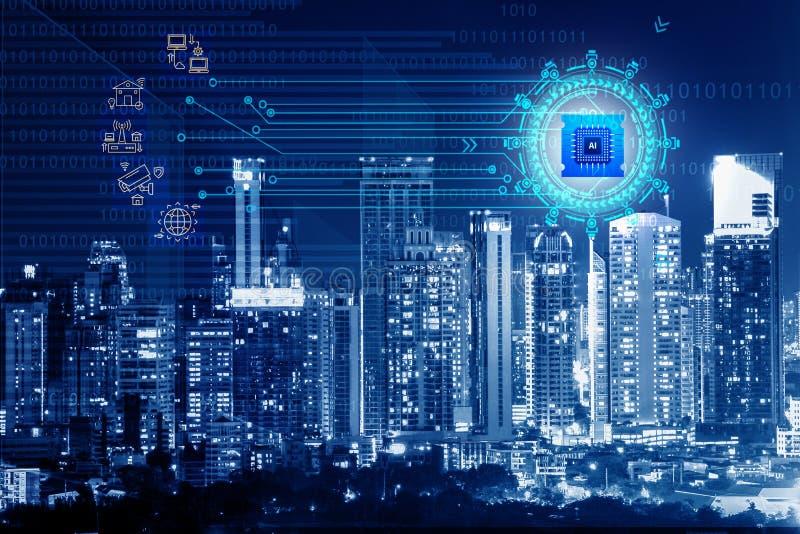 Fond de Digital de ville la nuit avec le signe numérique et l'icône image stock