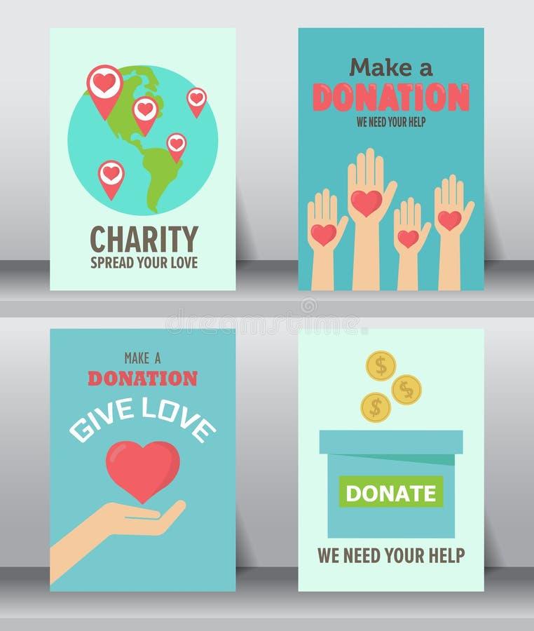 Fond de donation, ensemble d'affiche illustration libre de droits
